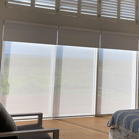 Betta Blinds Day/night system with only Sunscreen down. Gives you day time privacy